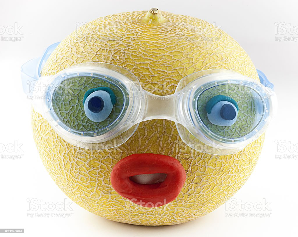 Melon Portrait with swimming goggles royalty-free stock photo