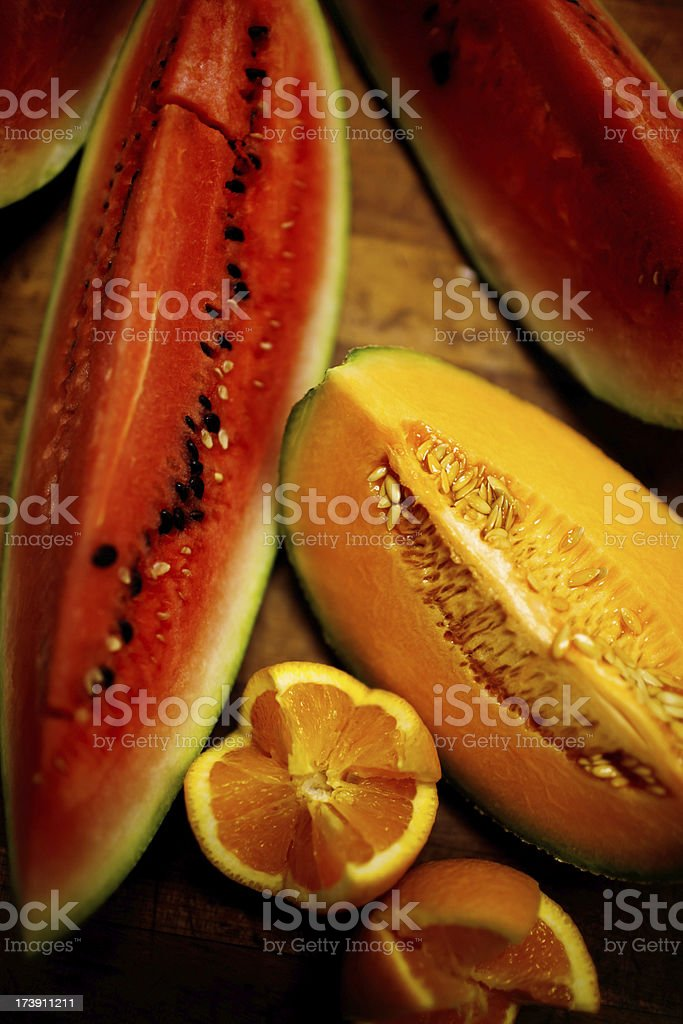 melons and orange royalty-free stock photo