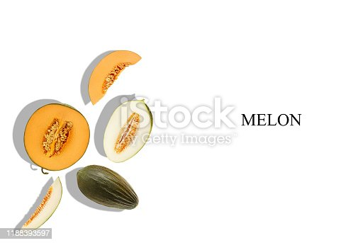 Melons of different varieties, whole, halves and slices, isolated on white with inscription melon and copy space for text or images. Sappy flesh with seeds. Close-up, shadow. Collage, top view.