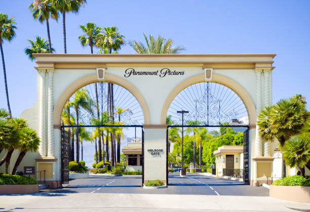 Melrose Gate entrance to Paramount Pictures in Los Angeles, CA stock photo