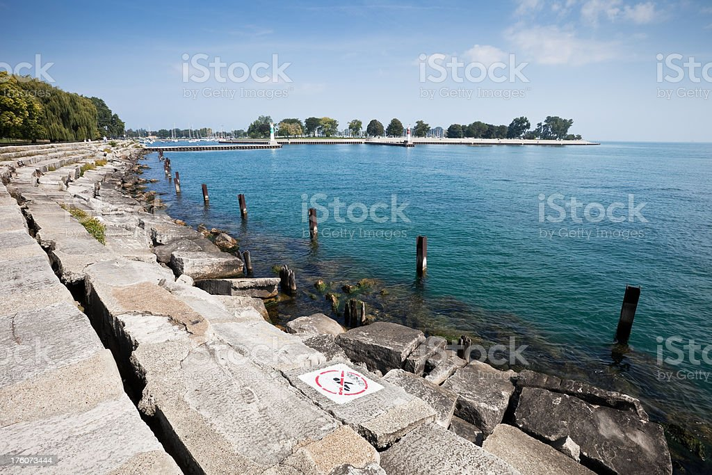 Melrose Harbor entrance in Chicago royalty-free stock photo