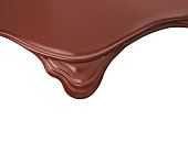 Melted brown chocolate dripping on white background, 3D illustration.