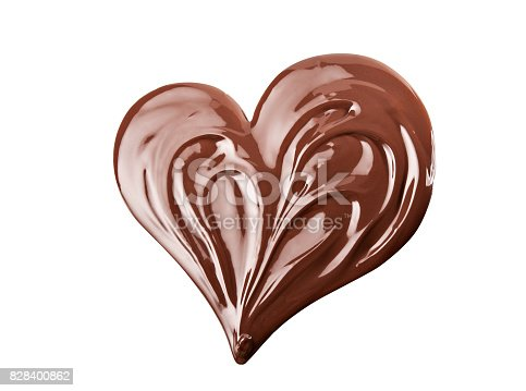 Melted chocolate heart splash.  Swirl isolated on white background.