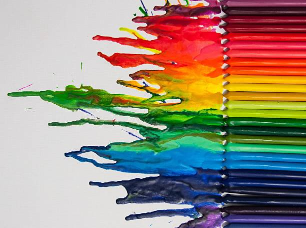 melted crayon art - smelten stockfoto's en -beelden