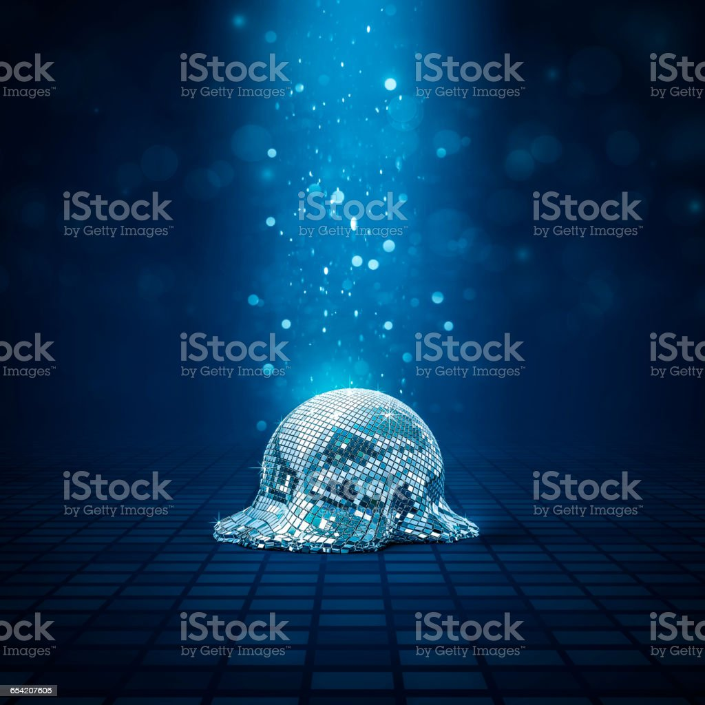 Melted disco ball stock photo