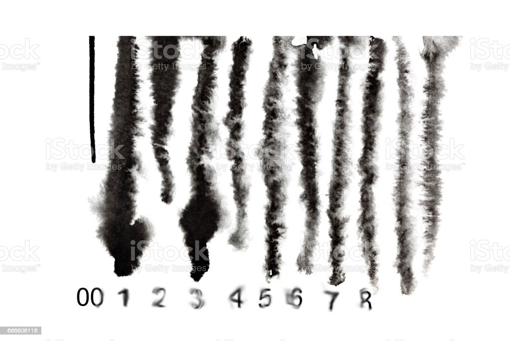 Melted down barcode stock photo