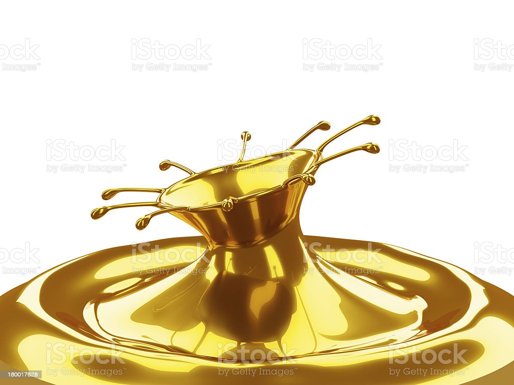 Melted Gold: liquid metal splashes isolated royalty-free stock photo