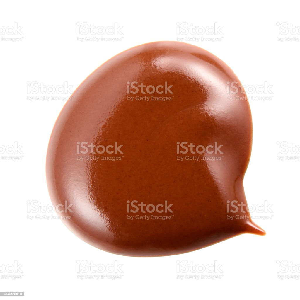 Melted hot chocolate. Chocolate drop isolated on white background....