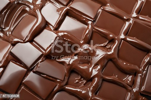 istock Melted pieces of chocolate bar 827536608
