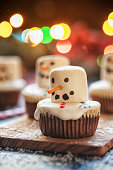 Fresh homemade melted Snowman cupcakes