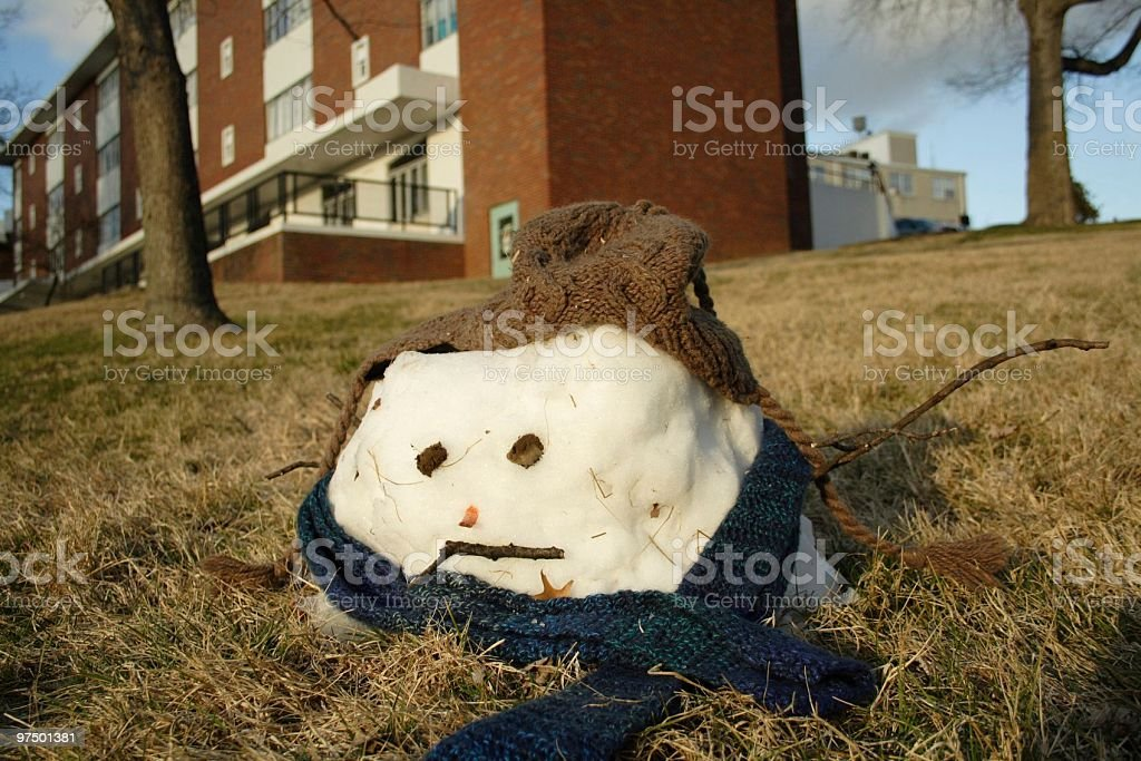 Melted Snowman royalty-free stock photo