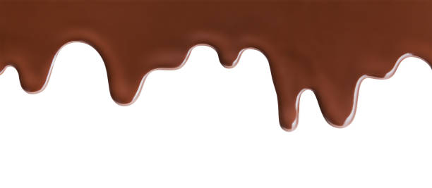 melting chocolate on white background - chocolate imagens e fotografias de stock