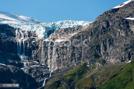 Melting glacier seen from Oldevatnet Lake near Olden, off Nordfjord, Norway.