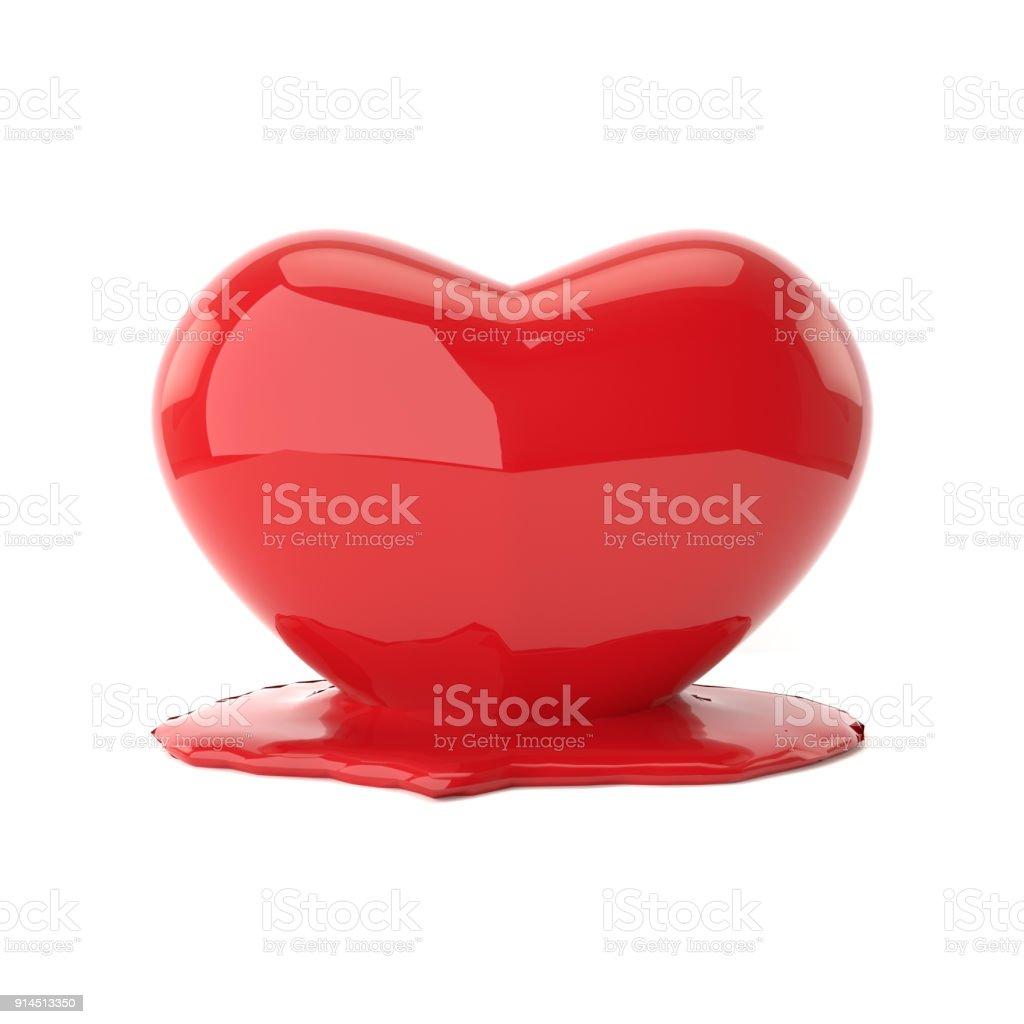 Melting heart. 3D rendering. stock photo