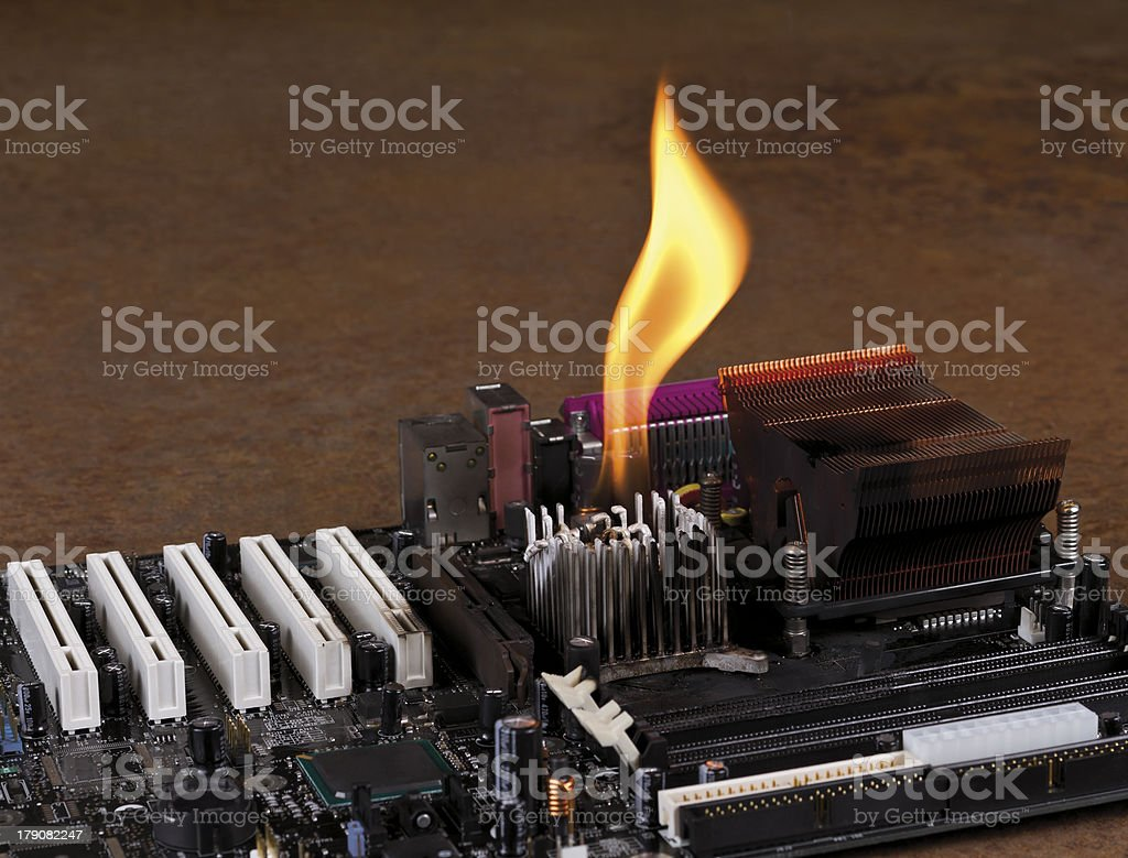 melting heat sink on computer board royalty-free stock photo