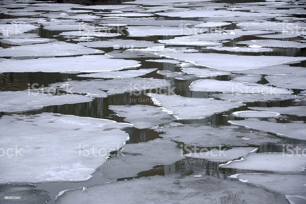 Melting ice floes in water royalty-free stock photo