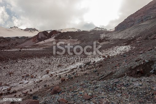 Brown rocks and ice melting