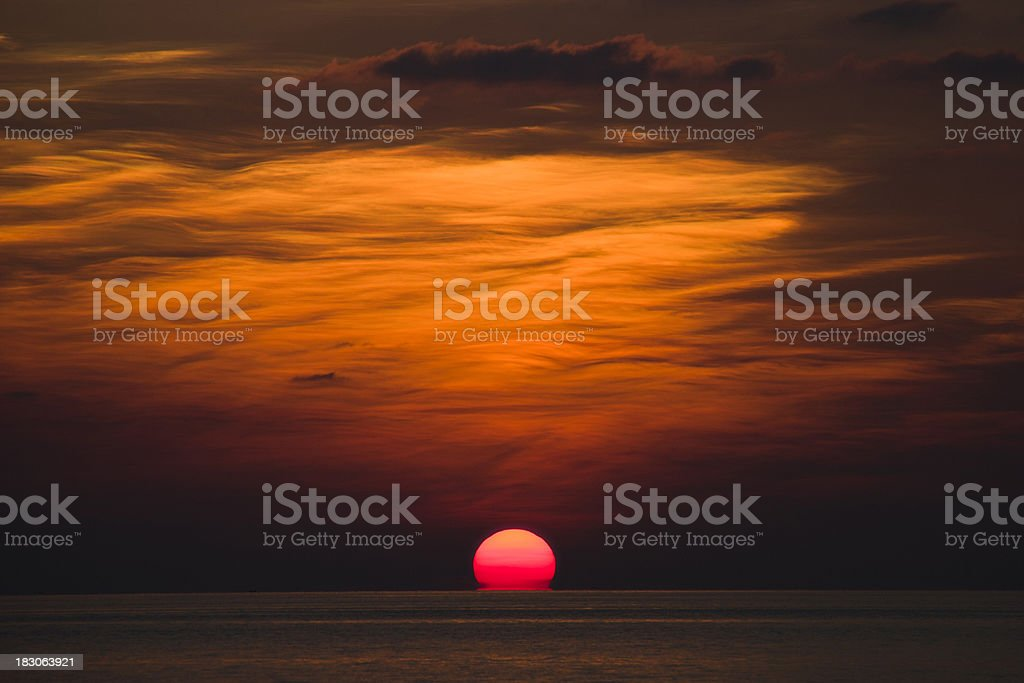 Melting Red Sunset royalty-free stock photo