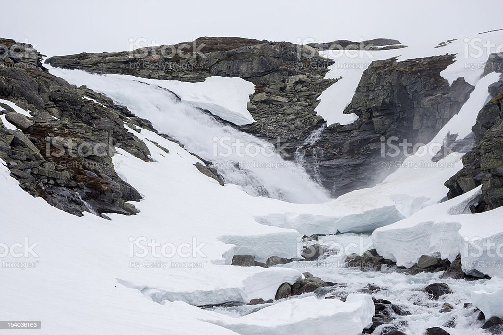 Melting snow along the old road between Grotli and Stryn royalty-free stock photo