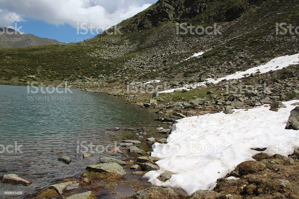 Melting Snow at Lake Hirschebensee in Spring, Kühtai, Tyrol, Austria stock photo