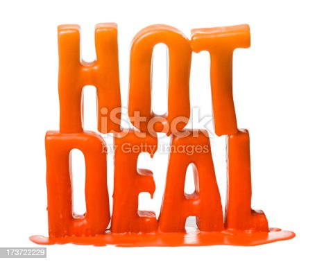 The phrase 'HOT DEAL' melting. Other text variations available. Isolated on a pure white background, no dot in the white area so no need to cut-out e.g. can be dropped directly on to a white web page seemlessly.