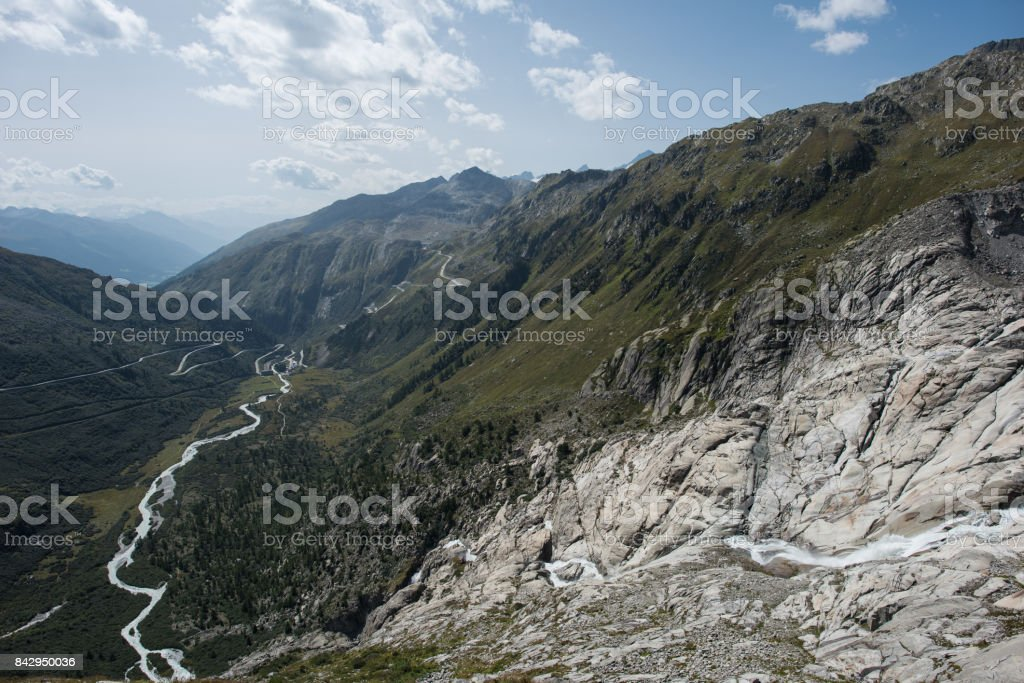 meltwater from Rhone glacier stock photo