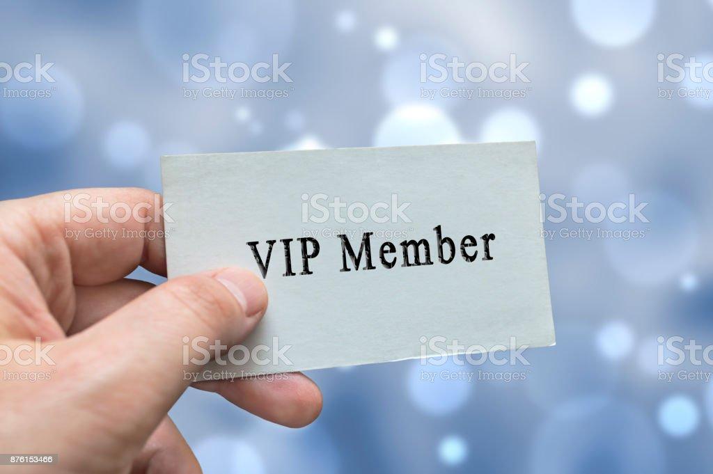 VIP Member card in hand stock photo