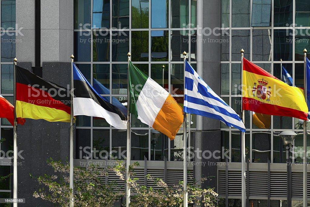 EU member flags in Brussels stock photo