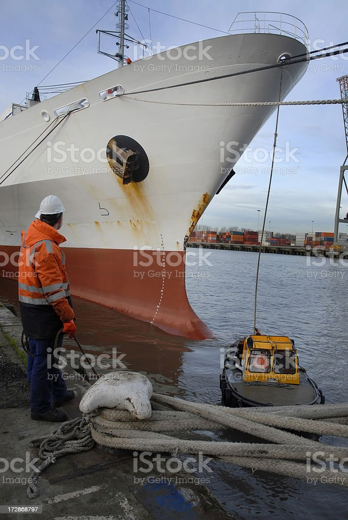 Member of the crew at harbour. royalty-free stock photo