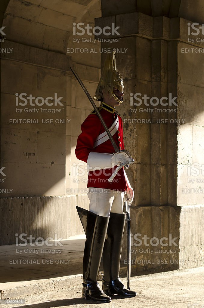 Member of the Household Cavalry Regiment, London royalty-free stock photo