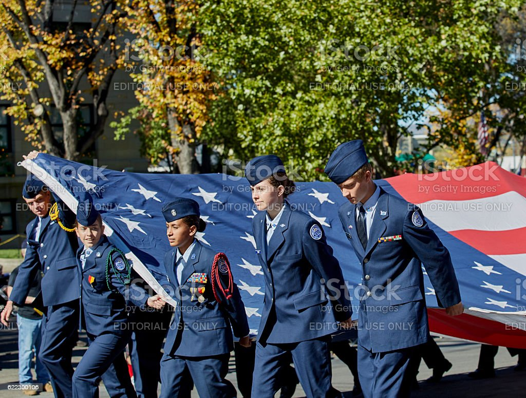 ROTC Members marching in Veterans Day Parade stock photo