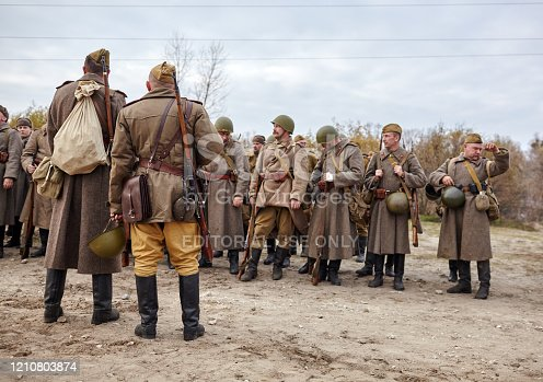 KIEV, UKRAINE - November 3, : Members of a history club wear historical Soviet uniforms as they participates in WWII reenactment.Defense Kiev in 1941. November 3 , 2013 in Kiev, Ukraine