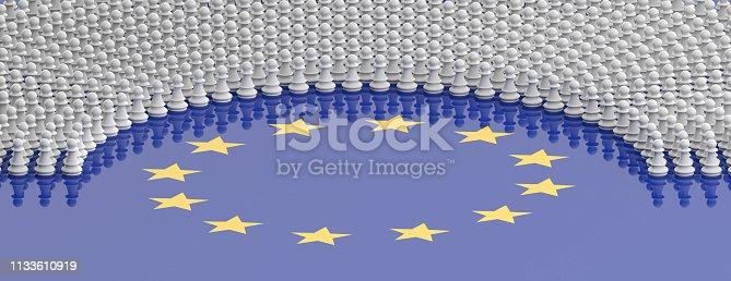 1125774238 istock photo Members of European Parliament as chess pawns on European Union flag. 3d illustration 1133610919