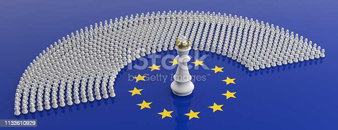 istock Members of European Parliament as pawns and a chess king on European Union flag, banner. 3d illustration 1133610929