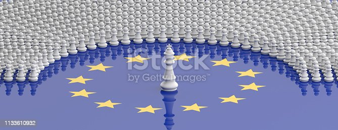 istock Members of European Parliament as pawns and a chess king on European Union flag, banner. 3d illustration 1133610932