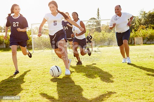 istock Members Of Female High School Soccer Playing Match 498509255
