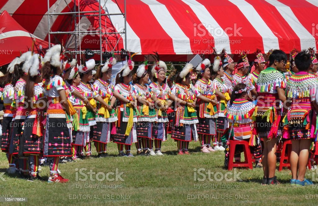 Members of the Amis Tribe in Traditional Costumes stock photo