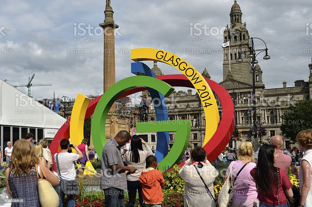 Members of the public in George Square Glasgow 2014 stock photo