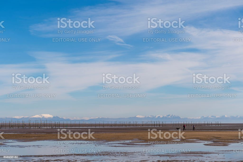 Members of the public on a Scottish beach during March stock photo