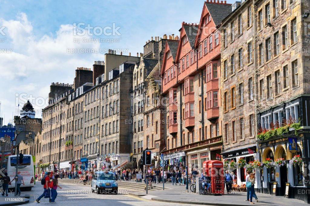 Members of the public on Edinburgh's historic Royal Mile stock photo