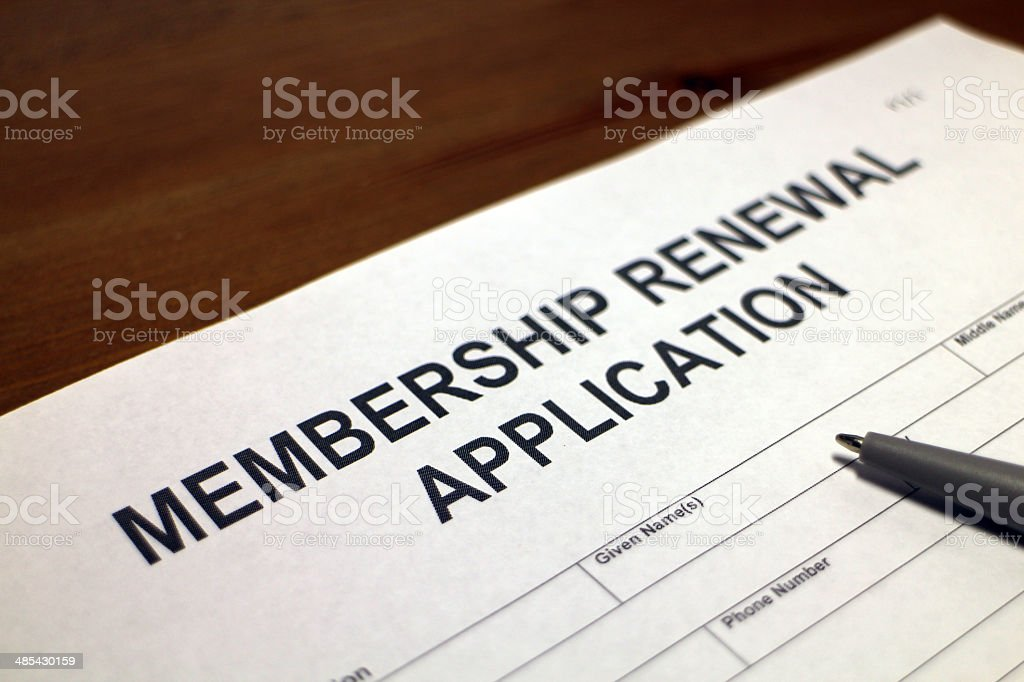 Membership Renewal Application Form stock photo