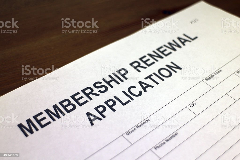 Membership Renewal Application stock photo