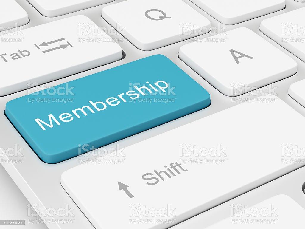 Membership written on keyboard key stock photo