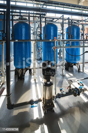 Membrane deaeration system equipment water filters and pump in a cogeneration plant