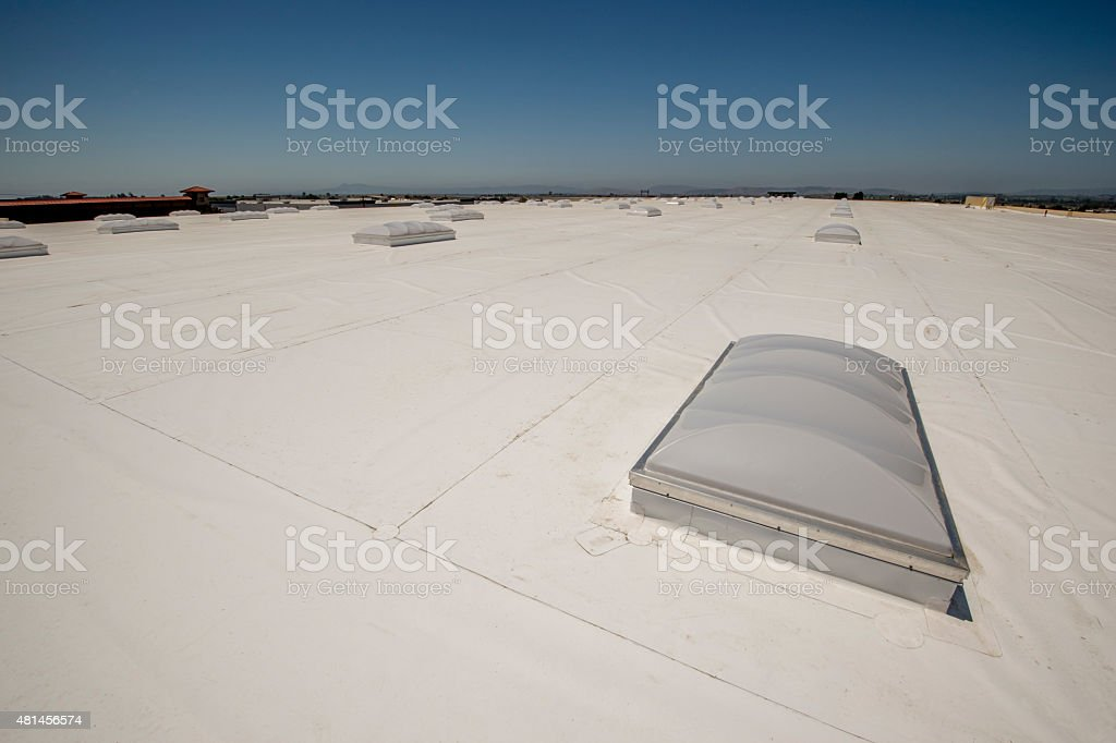 PVC Membrane Roof on a Large Warehouse stock photo