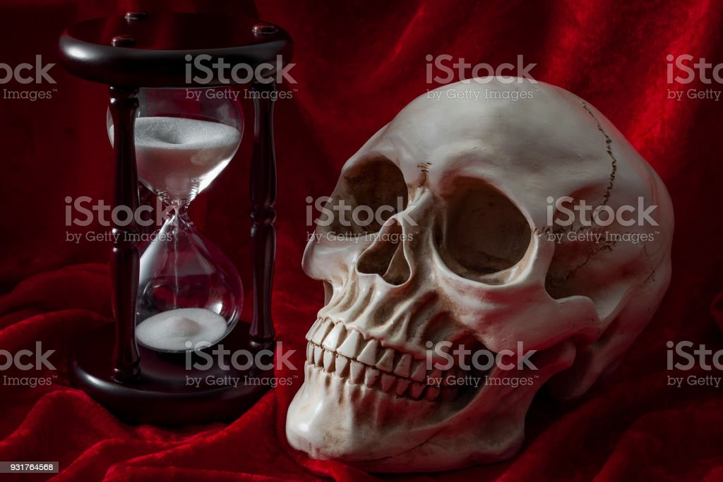 Memento Mori and the fear of death concept stock photo