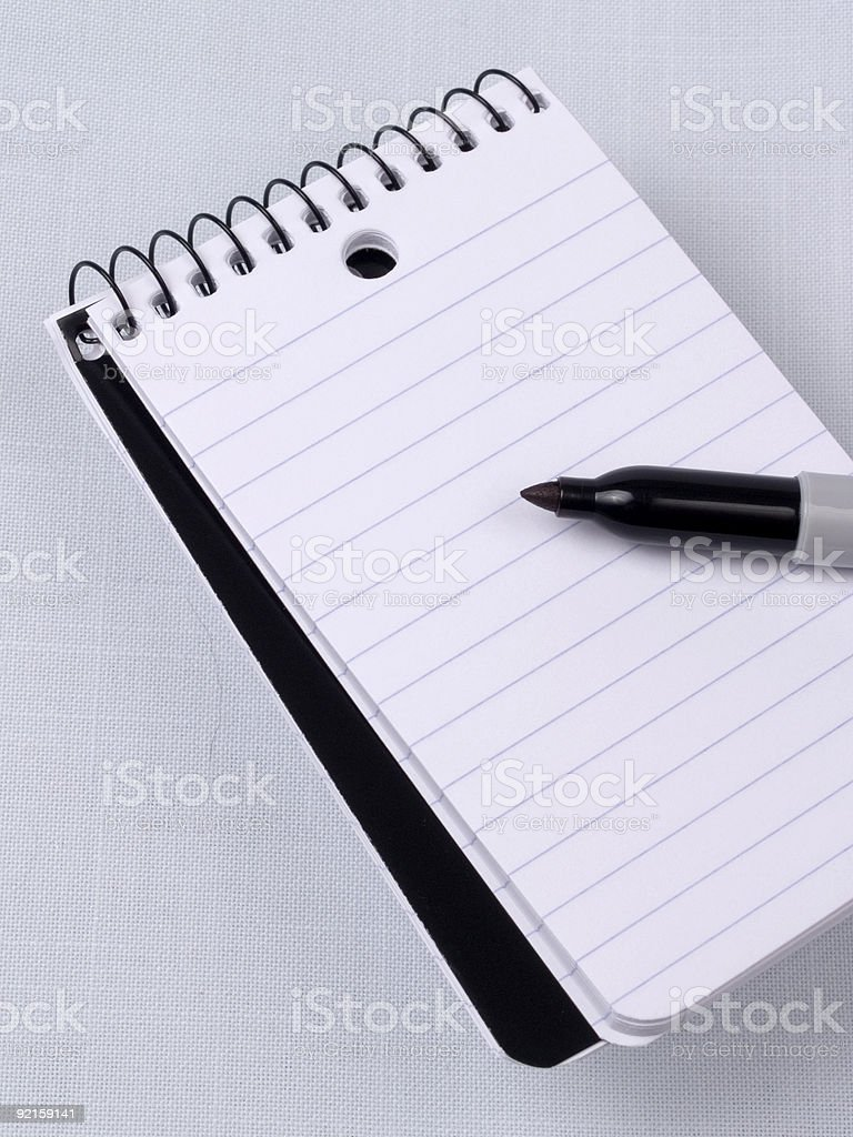 Memo Pad and Marker - Vertical royalty-free stock photo