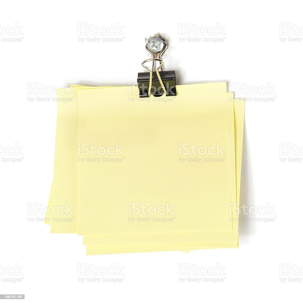 Memo Stack with Paper Clip stock photo
