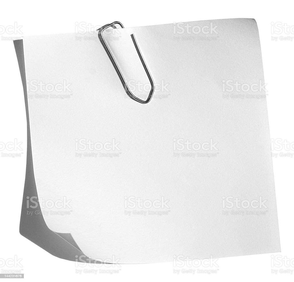 Memo with paper clip royalty-free stock photo