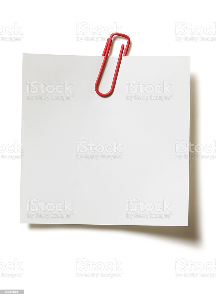 Memo with paper clip stock photo